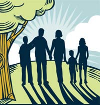 illustration of a family holding hands