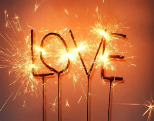 sparklers that spell LOVE