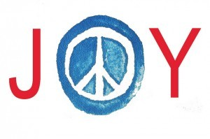 the word JOY with a peace symbol