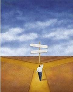 illustration of man at crossroads
