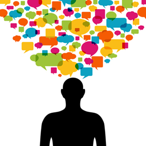 image of man with many speak bubbles over his head